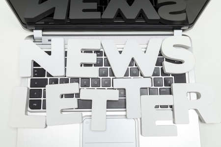 lates: newsletter letters on keyboard of laptop Stock Photo