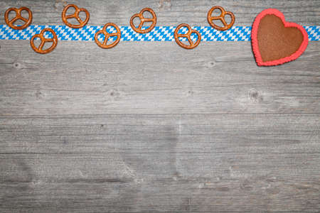 oktoberfest background with gingerbread heart Stock Photo