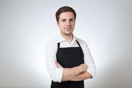 shop assistant: shop assistant with apron (grey background)