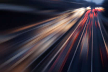 夜の高速道路で高速車 写真素材