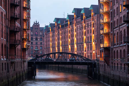 Speicherstadt in Hamburg at dusk