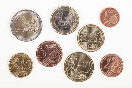 Various Euro coins Stock Photo