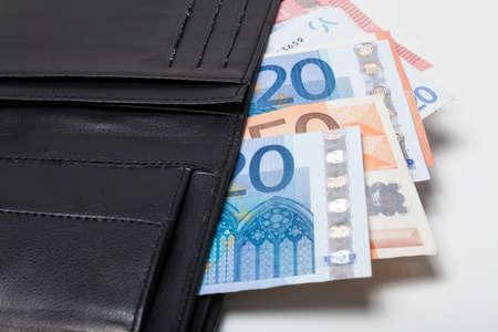 euro banknotes: Euro banknotes in purse Stock Photo