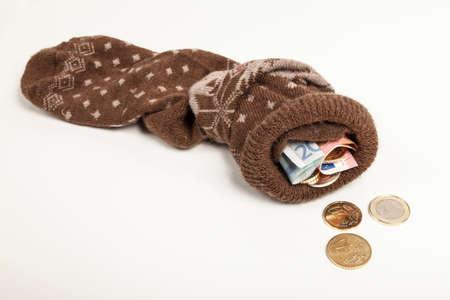 economize: Euro money in stocking