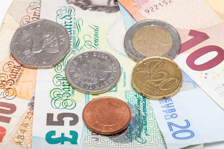 gb pound: Euro and Pound money Stock Photo