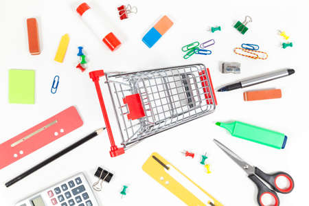 Shopping cart and office supplies