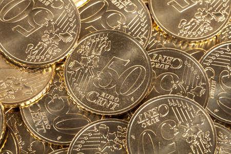50 euro: 50 Euro cent coins Stock Photo