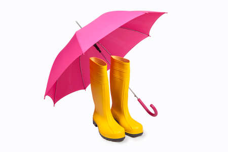 brolly: Yellow rubber boots and pink umbreall isolated