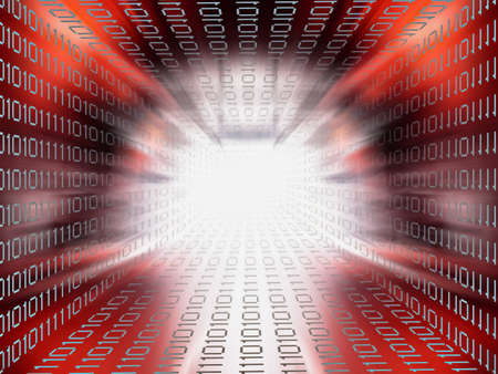 information superhighway: Data stream tunnel red background Stock Photo