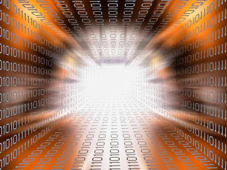 information superhighway: Data tunnel orange brown background Stock Photo