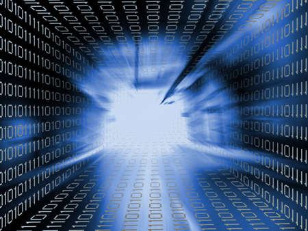 codigo binario: nformaciones fondo azul supercarretera Foto de archivo