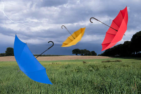 blustery: Umbrellas and lightning in landscape Stock Photo