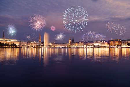 Alster fireworks in Hamburg