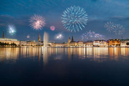 Fireworks at Alster in Hamburg