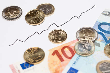 share prices: Rising graph and euro money