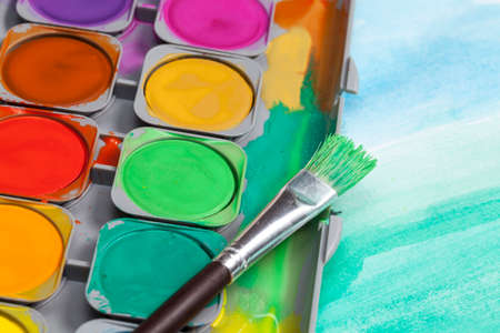 paintbox: Watercolor paintbox Stock Photo