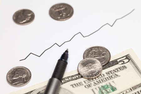 share prices: Rising chart and Dollar money Stock Photo