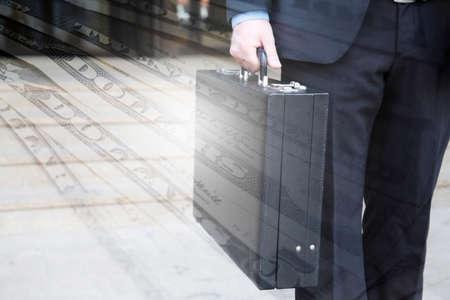 attache case: Briefcase and Dollar money