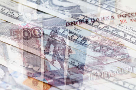 concealment: Russian Ruble, US Dollar and businessman with briefcase in background