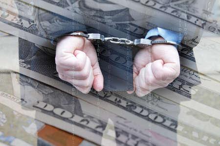 Homme d'affaires avec des menottes et de l'argent Dollar Banque d'images - 56604175