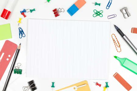 whitespace: Blank sheet and office supplies Stock Photo
