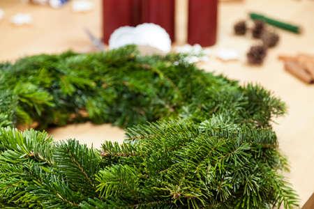 advent wreath: Tinker an advent wreath Stock Photo