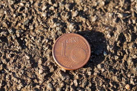 cent: Luck penny on asphalt (Euro cent)
