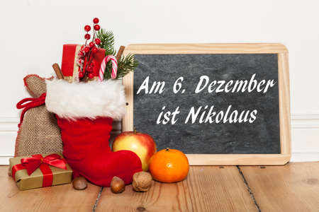 st german: On sixth december is st nicholas day written in german Stock Photo