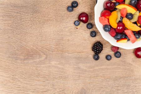 copy  space: Fruit salad copy space