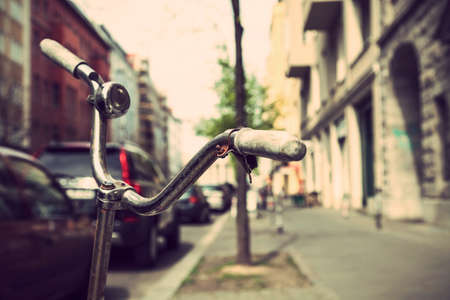 outmoded: Bicycle in Berlin Stock Photo