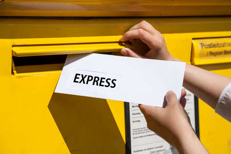 into: Express letter into mailbox