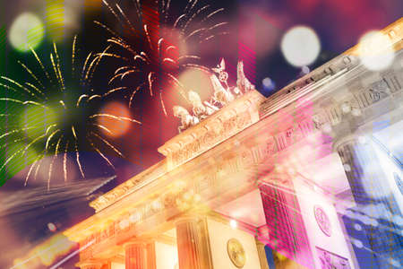 Music and fireworks at Brandenburger gate in Berlin