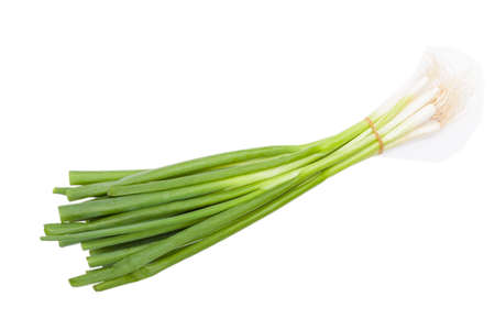 unboiled: Spring onions isolated Stock Photo