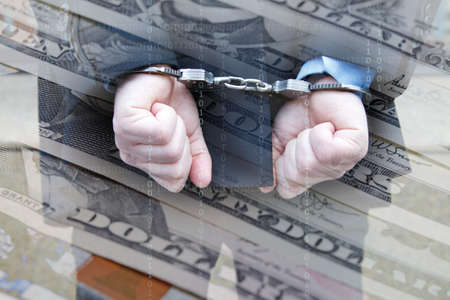 boodle: Business man in handcuffs, Dollar notes and data photomontage