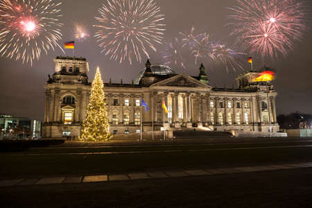 German parliament at new years eve in Berlin Stock Photo