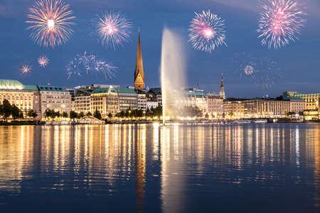 Hamburg fireworks Stok Fotoğraf