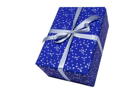 Blue christmas present with silver stars on white background