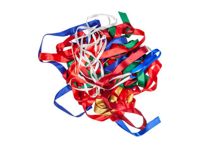 Confusion of gift ribbons on a white background Standard-Bild