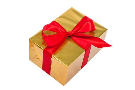 Golden christmas present on white background