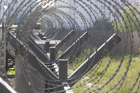barbed wire steel wall against the immigations Standard-Bild
