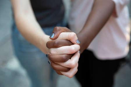 close up black and white woman hand. Selective focus Foto de archivo