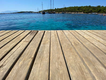 close up wooden floor on the sea Reklamní fotografie