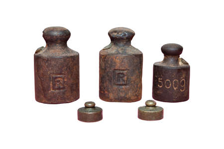 iron weights for scales on isolated white background