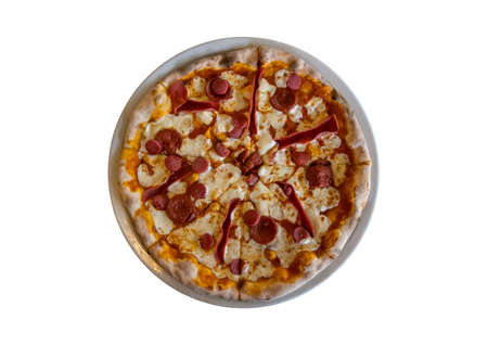 pizza on isolated white background, top view