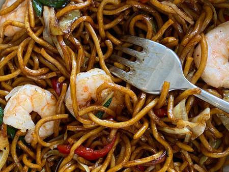 Noodles with Vegetables and Shrimp. close up Фото со стока