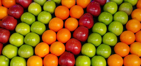 fruit standing side by side. apple and orange background
