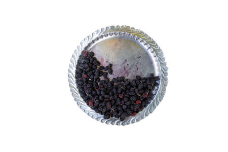 top view mulberry fruit in tray