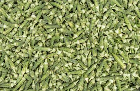 okra vegetable background, top view