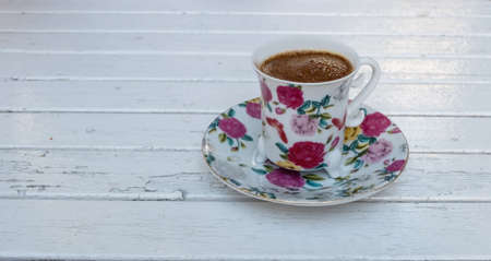 turkish coffee cup on wooden table Фото со стока
