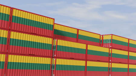 Lithuania flag containers are located at the container terminal. Concept for Lithuania import and export 3D. Imagens